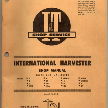 1956 - Int'l Harvester Shop Manual - Tractors