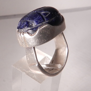 SIGNED MODERNIST SILVER & LAPIS SCARAB RING, HIDDEN BEAUTY FEATURE UNDER SHANK - Fine Jewelry