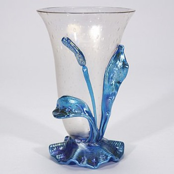 Loetz Bubble Glass Cattail Vase - Art Glass