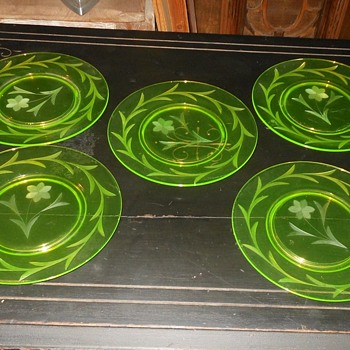Set of Five Vaseline Glass Etched Sandwich Plates