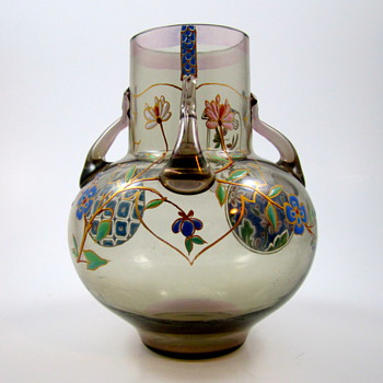 Enameled French vase in the Japonisme style (a la Japonaise), ca. 1880 - Art Glass