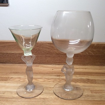 Nude lady and boy glasses  - Glassware