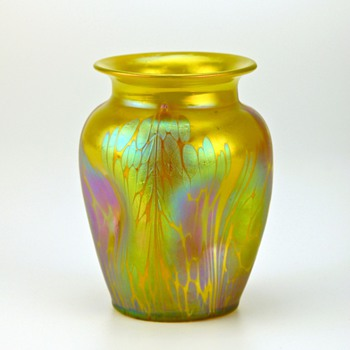 "Loetz Medici examples, around 1902-04, yellow, green and the last two are called ""spreading chestnut"" - Art Glass"