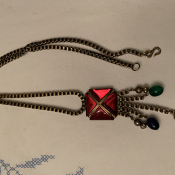 Mystery Long necklace, box chain with dangling beads. Commemorating coronation of Queen Elizabeth? Canadian? - Costume Jewelry