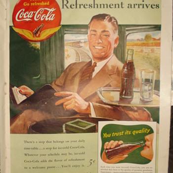 """1941 PAUSE... """" GO REFRESHED COCA'COLA """"AD - Coca-Cola"""