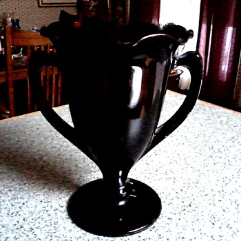 "L.E. Smith 8"" Double Handled Trophy Vase # 437/Black Amethyst Glass/Circa 1930 - Art Glass"
