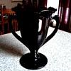 "L.E. Smith 8"" Double Handled Trophy Vase # 437/Black Amethyst Glass/Circa 1930"