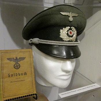 """WWII German Army Officer, Combat Engineer """"Pioneer"""" Visor Cap"""