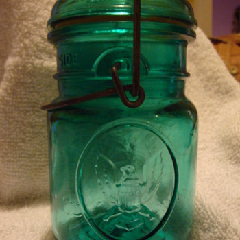 Green Mason jars with Eagle - Bottles