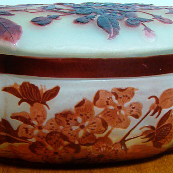 Galle Oval Dresser Jar signed on top and bottom - Art Glass