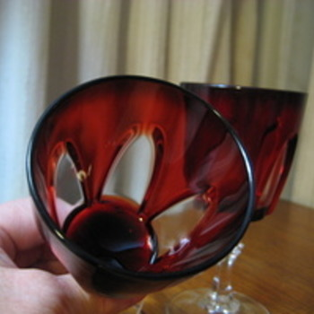 Vintage pair Luminarc J.G. Durand France Ruby Red Cut to Clear Glass Goblets  - Glassware