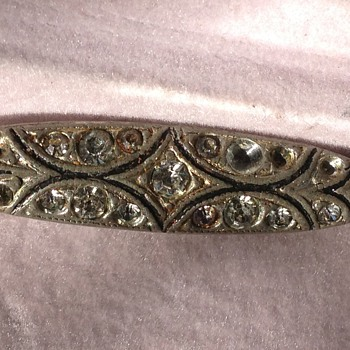 Edwardian? Silver and  Crystal stone Bar Pin or Brooch - Fine Jewelry