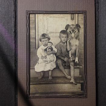 Vintage Childhood Photo. Girl- Boy, Doll-Dog - Photographs