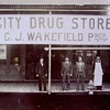 "VINTAGE PHOTO--- ""CITY DRUG STORE"". C.J. WAKEFIELD.PROP."