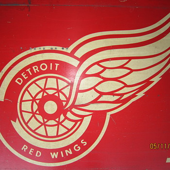 Vintage Olympia Stadium Detroit Red Wings Hockey WWJ Advertising Sign - Signs