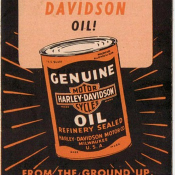 Harley-Davidson Motorcycle Oil Ad Pamphlet - 1960 - Advertising