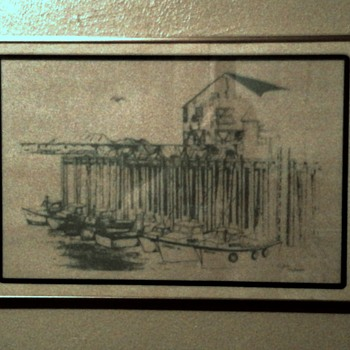 """Folk art Late 60s early 70s 13""""x 19"""" Charcoal or dark pencil framed drawing signed by artist - Fine Art"""