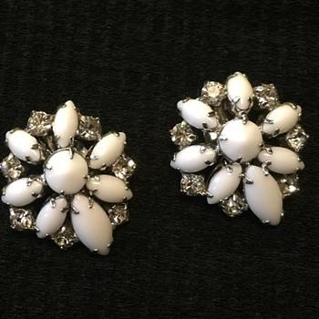 By Gale vintage milk glass & rhinestone earrings - Costume Jewelry
