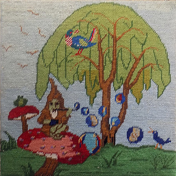 Hippie Made Needlepoint Hookah Smoking Gnome on a Mushroom... - Rugs and Textiles