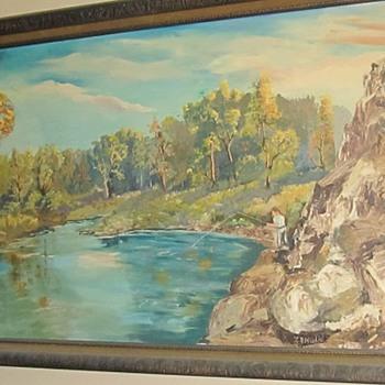large painting man fishing  - Fine Art