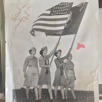 """Kelly Field Texas   Photograph """"Kelly Katies"""" Unknown Exact Year Look at the stars on the Flag? - Military and Wartime"""