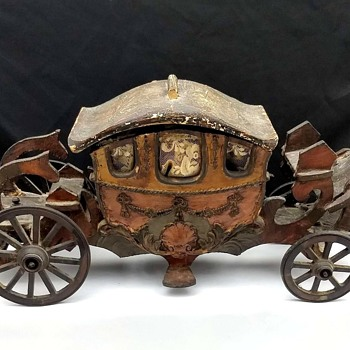 Antique Wooden Hand Made 1800's Toy Royal Carriage - Toys
