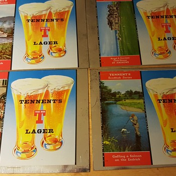 Tennent's Lager , Scottish Series , unrolled flat top beer can