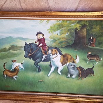 Folk Hunt Scene Painting - Child on Pony with Dogs.   Help identify - Fine Art