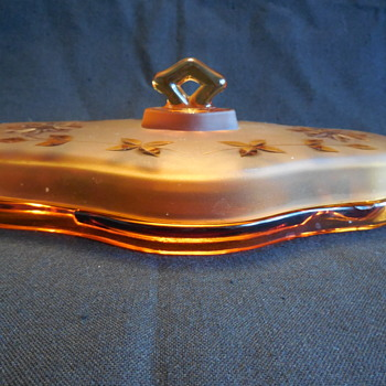 Vintage Cambridge Glass Amber Lidded Sectioned Vanity Tray - Glassware