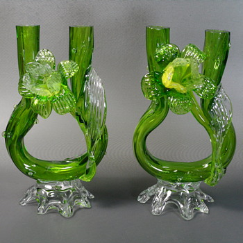 "Kralik Thorn Double Vase Pair - 7"" - Art Glass"