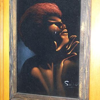 Rare Oil Painting on Cloth of  Activist Dr. Angela Davis, Unknown Artist???