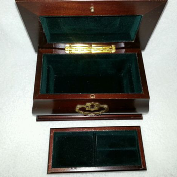 Vintage Cherry Wooden Tabletop Jewelry Box