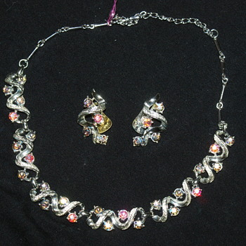 Vintage Coro AB Necklace and Earrings - Costume Jewelry