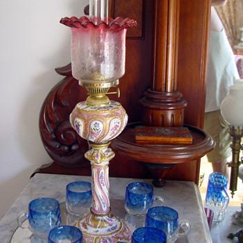 1870's Meissen Kerosene Lamp w Cranberry Etched Shade - Lamps