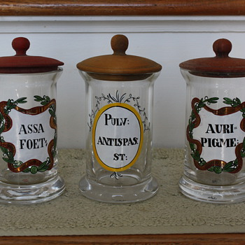 Set of three  handpainted Apotheycary jars Marked with letter M - Art Glass