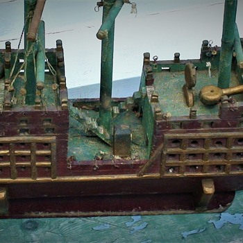 "Folk Art Pirate Ship Circa 1926 Based On Ship In The Silent Movie ""The Black Pirate"" 1926 - Folk Art"