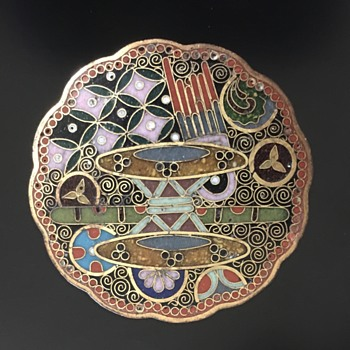 Antique Japanese cloisonné brooch with design of traditional instruments - Asian