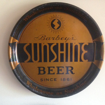 Barbeys Sunshine Beer Tray - Breweriana