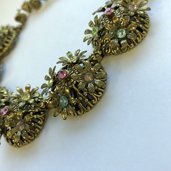 Vintage Cannetille Filigree Necklace with rhinestones  - Costume Jewelry