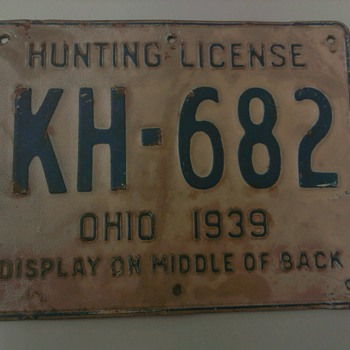 1939 Metal Ohio Hunting License