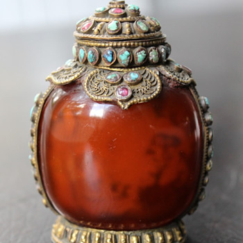 Inside Painted Mongolian Style Snuff Bottle - Asian