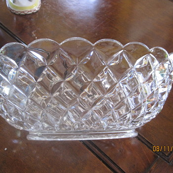 deep heavy oblong diamond pattern bowl - Glassware