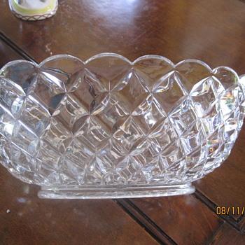 deep heavy oblong diamond pattern bowl - Glassware