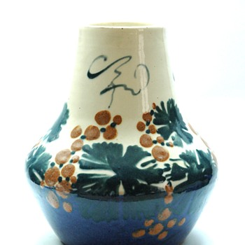 french art nouveau pottery vase byLEON ELCHINGER- grapes pattern, circa1910 - Art Nouveau