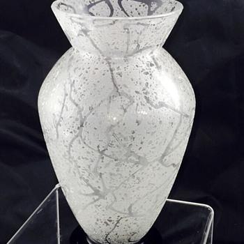 Art Deco Daum + Nancy, France Acid Etched Crystal w/Applied Black Footed Vase