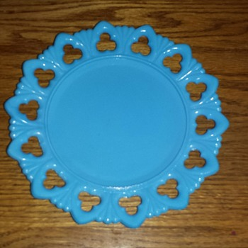 Blue Milk Glass Plate  - Glassware