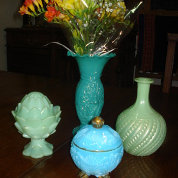 Our little collection of opalines de foire  - Art Glass