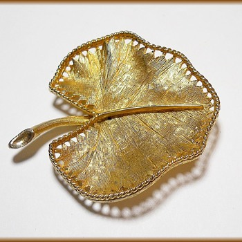 Vintage CORO Brooch - Flat wide leaf - Costume Jewelry