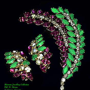 Sherman Gold Backed Pins and Earrings, Fantasy Colours - Costume Jewelry
