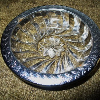 Silver Trim Glass Dish - Glassware